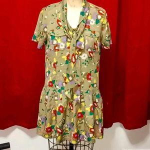 Fossil Green Drop Waist Floral dress w Tie Medium